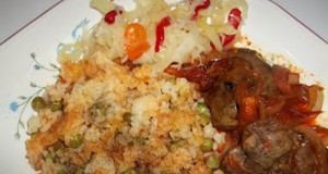 Vörösboros resztelt csirkemáj rizi-bizivel csalamádéval