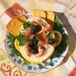 Vodkás mézdinnye saláta füstölt lazaccal folyami rákkal 1