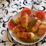 Burgonyás tészta baconban sütve