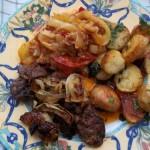 Grillezett csirkemáj sült krumplival lecsóval 1