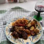 Grillezett csirkemáj sült krumplival lecsóval 2
