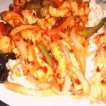 Kínai zöldséges csirke tojásos zöldborsós rizzsel 1