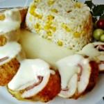 Sajtos sonkás göngyölt csirkemell sajtmártással 2