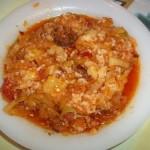Tökös rizses lecsó kolbásszal és szalonnával 1