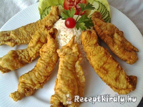 Fűszeres csirkecsíkok párizsi bundában
