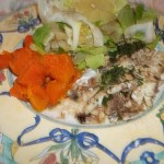 Sült tengeri sügér sütőtökkel és fejes salátával 1