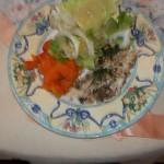 Sült tengeri sügér sütőtökkel és fejes salátával 2