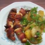 Baconbe és füstölt sajtba tekert virsli 1