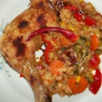 Mexikói rizses serpenyő sült csirkecombbal