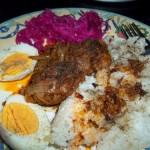 Resztelt csirkemáj tojással rizzsel