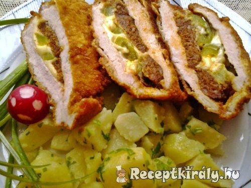 Karajszeletek kolbásszal sajttal paprikával töltve