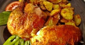 Sült csirke krumpli ágyon