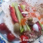 Hummus zöldségekkel pitában