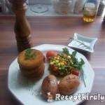 Panírozott pulykafasírt sültkrumplival zöldségekkel 2