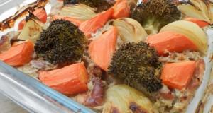 Pácolt csirkecomb csíkokon sült zöldségek