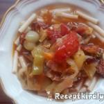 Baconös kolbászos lecsó kolbásszal tésztával 1