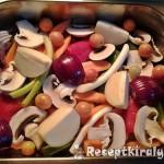 Csirkecombok zöldségágyon sütve 1