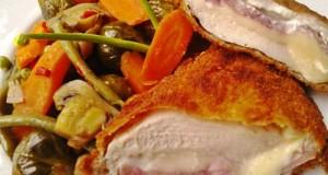 Csirkemell sonkával fokhagymás krémsajttal töltve