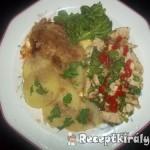 Fehérboros csirkemell párolt brokkolival és káposztával 2