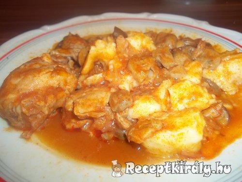 Vörösboros gombás csirkecomb gnocchival