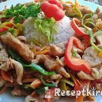 Zöldségekkel sütött csirkemell csíkok 1
