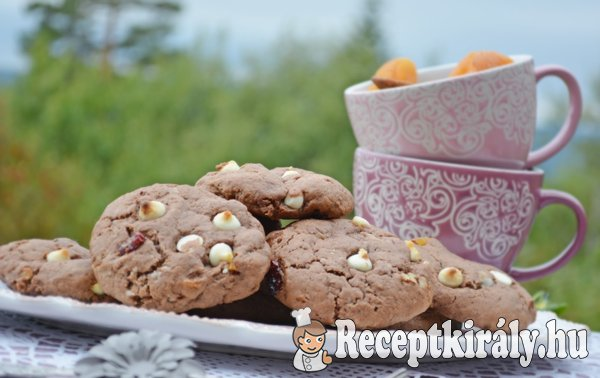 Kakaós fehércsokis marcipános keksz