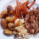 Kacsamell vele sült újkrumplival és répával, párolt rizzsel 1