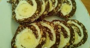 Kókuszkrémes keksztekercs banánnal