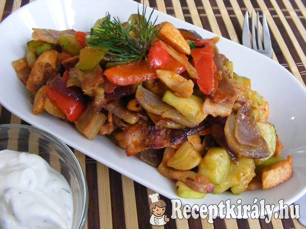 Csípős, zöldséges-serpenyős csirke
