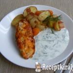 Zöldségeken sült csirkemell, kapros-fokhagymás joghurttal 3