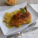 Rozmaringos csirkecomb burgonyaágyon sütve
