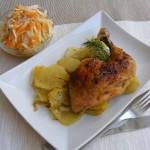 Rozmaringos csirkecomb burgonyaágyon sütve 2