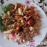 Bana rizses zöldséges gránátalmás, csirke csíkok 2