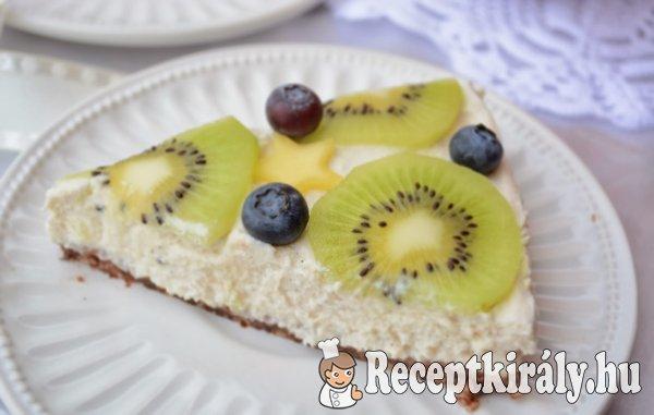 Sütés nélküli citromos sajttorta gyümölcsökkel - paleo