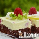 Málnás citromos túrószelet brownie ágyon - paleo 1