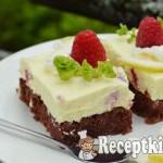 Málnás citromos túrószelet brownie ágyon - paleo 2