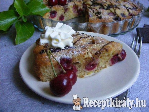 Cseresznyés-csokoládés joghurtos pite