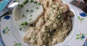 Póréhagymás tejszínes-mustáros csirkemell