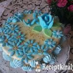 Gesztenye torta kék virággal