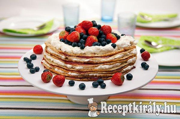 Gyümölcsös túrókrémes palacsinta torta