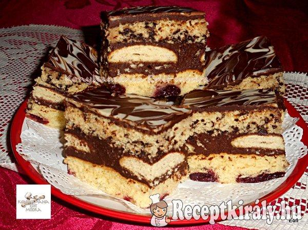 Rumos meggyes,csokis krémes szelet