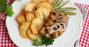 Fokhagymás aprópecsenye csíkos krumplival