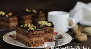 Diós csokoládékrémes szelet