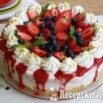 Joghurtos túrókrém torta erdei gyümölcsökkel